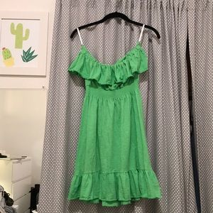 Lime Green Ruffle Strapless Lilly Pulitzer Dress🌴